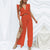 Gift Day Fashion Solid Color Stitching Ruffled Split Wide Leg Two Piece Set