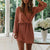 Gift Day V-Neck Lace-Up Waist Flared Sleeves With Sweater Mini Dress