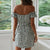 Gift Day Fashion Off-The-Shoulder Printed Single-Breasted Mini Dress