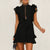 Fashion Round Neck Hollow Ruffle Sleeve Waist Strap Mini Dress