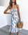 Gift Day Leaf Print With Ruffled Women's Vacation Dress