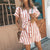 Gift Day Fashion Stripe Short Sleeve Casual Mini Dress