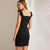 Gift Day Black Frill Strap Seam Bodycon Elegant Ruffle Sleeveless Zipper Mini Dresses