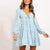 Gift Day V-Neck Tie Printed Long Sleeve Mini Dress