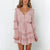 Gift Day V-Neck Button-Up Stitching Wooden Ear Long-Sleeved Mini Dress