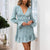 Gift Day V-Neck Print Long Sleeve Splicing Mini Dress