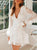 Fashion V-Neck Solid Color Long Sleeve Mini Dress
