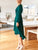 Fashion V-Neck Solid Color Lace-Up Long Sleeve Slim Dress