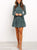 Fashion Floral Stitching Ruffled Long Sleeve Mini Dress