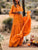 Orange Round Neck Sweet Solid Short Sleeve Holiday Maxi Dress