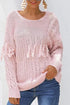 Sweet solid color round neck tassel twist sweater