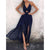 Gift Day Halter Backless High Slit  Plain  Sleeveless Maxi Dresses