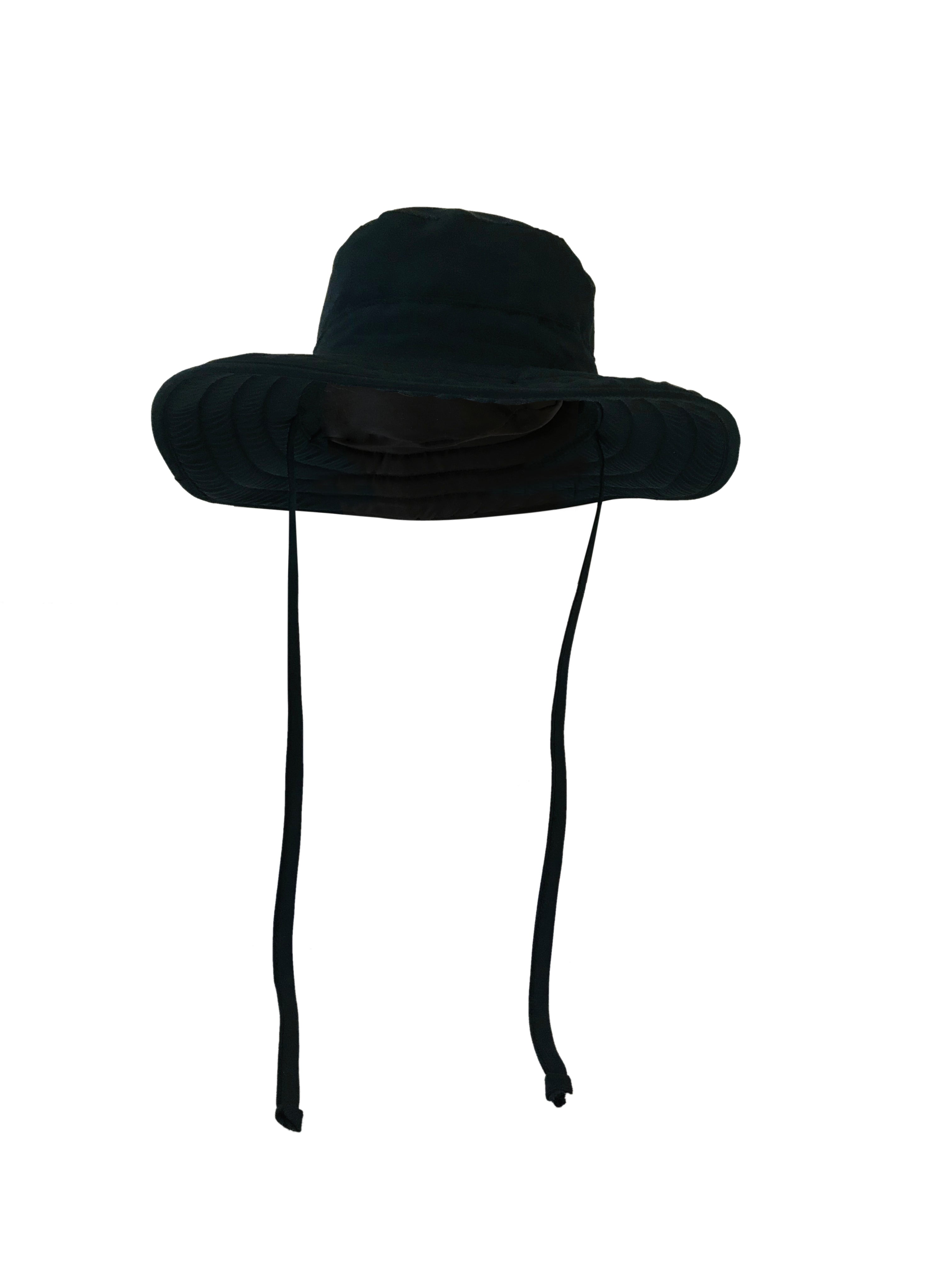 ZeuKnLu Black Sun Hat with removable liner front view