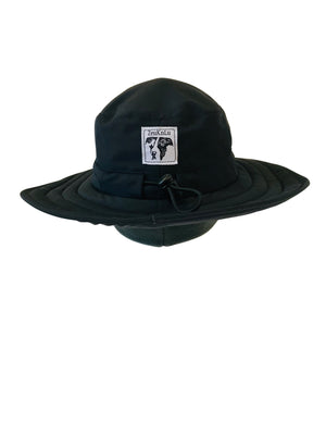 ZeuKnLu Black Sun Hat with removable liner back view