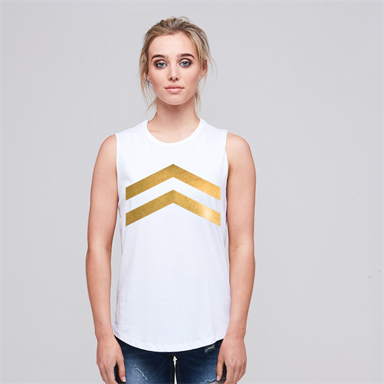 Alaska Tees - Chicago 2 Arrows Up Gold Foil (White)