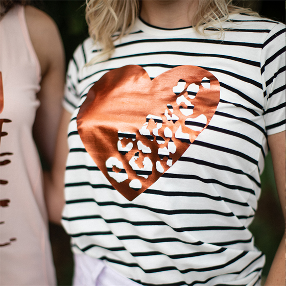 Alaska Tees - Cara Heart Electric Copper (Black Stripe)