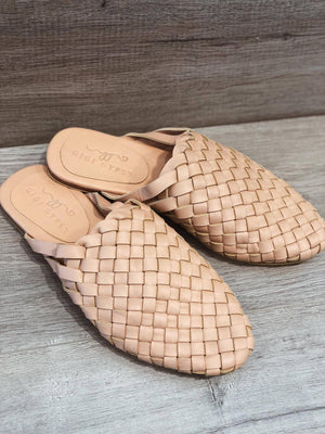 Gigi Gypsy Leather Woven Slides - Nude Leather