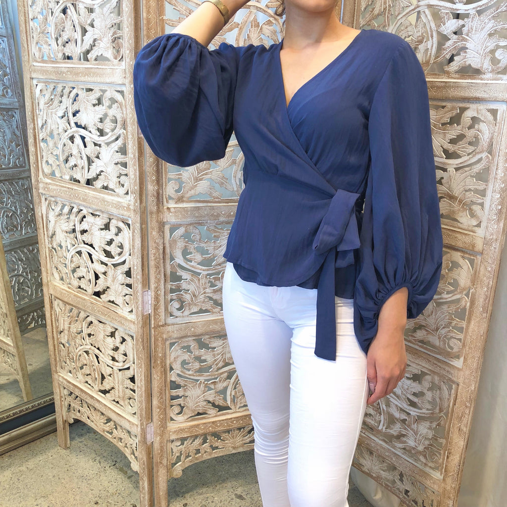Victorian Wrap Blouse - Navy