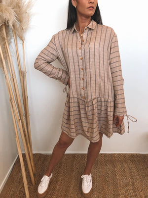 Austin Striped Dress - Mocha
