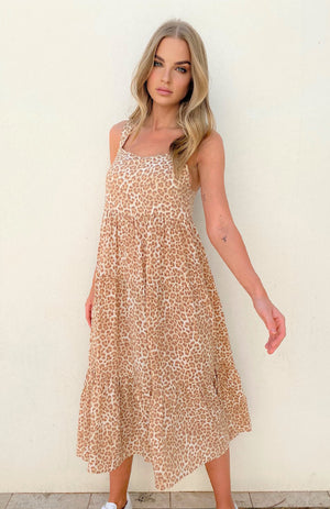 Cartel & Willow - Avril Midi Dress ( Tan Leopard )