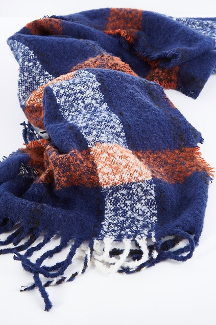 Betty Basics - Polar Check Scarf (Navy Multi)