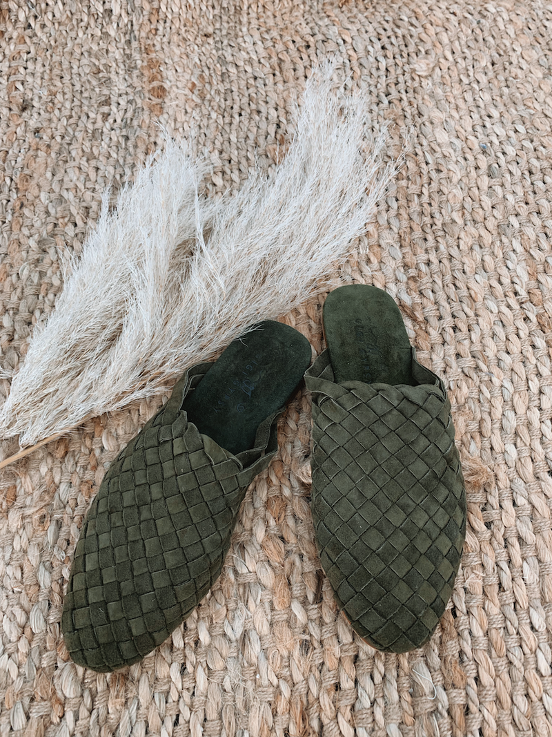 Gigi Gypsy Leather Woven Slides - Olive Suede