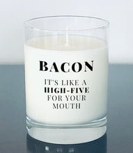 "Load image into Gallery viewer, Bacon 'High-five"" candle"