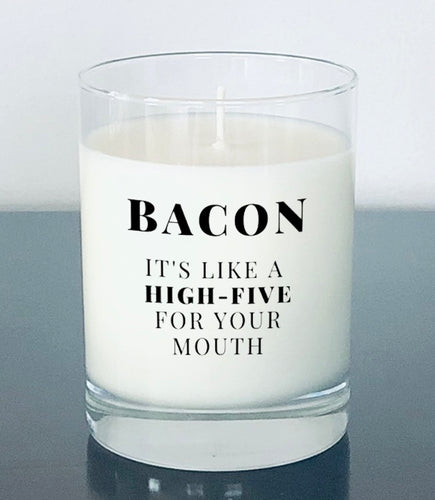 "Bacon 'High-five"" candle"