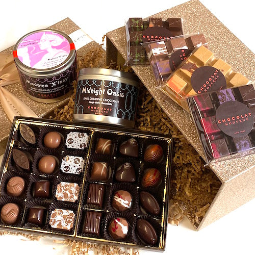 Gift Basket Luxe No. 3 ~ Bonbons, Bars, 2 Drinking Chocolates