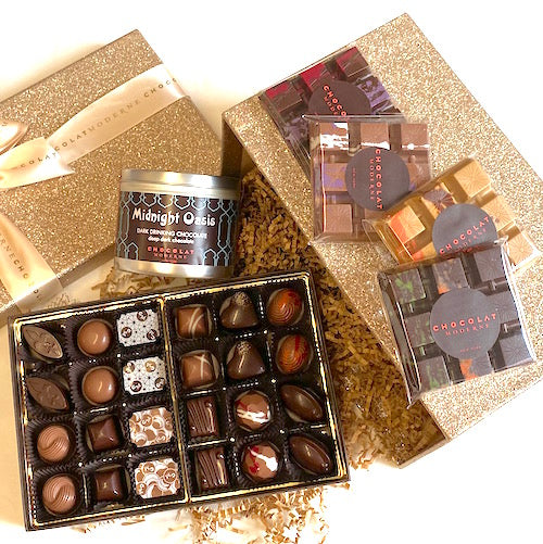 Gift Basket Luxe No. 1 ~ Bonbons, Bars, Drinking Chocolate