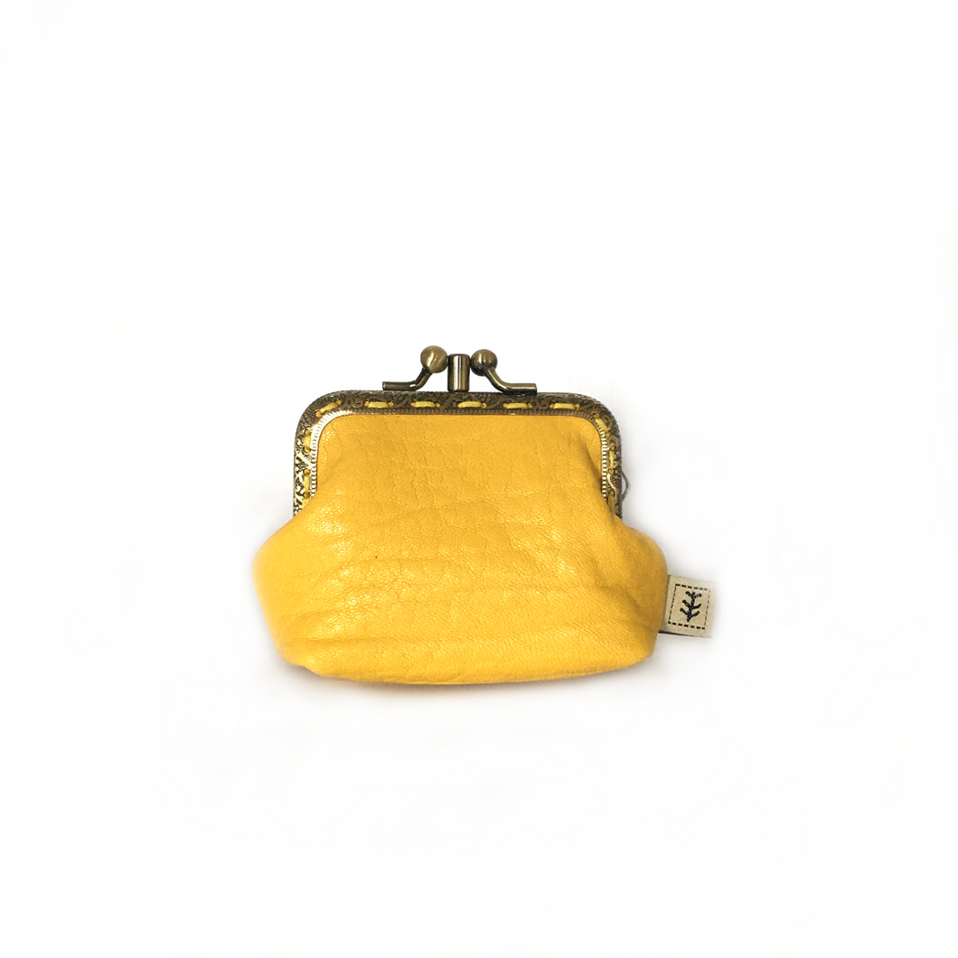 Yellow Merino Leather Coin Double Purse, 8.5cm