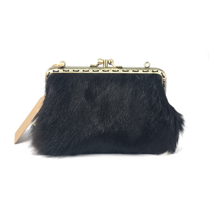 Dark Brown/Black and White Cowhide Double Purse, 15cm