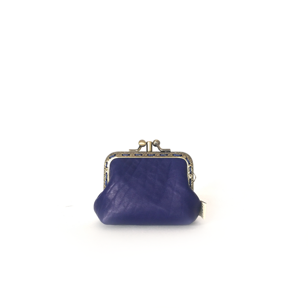 Dark blue Merino Leather Coin Double Purse, 8.5cm