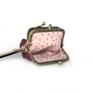 Raspberry Pink Merino Leather Coin Purse 8.5cm Double