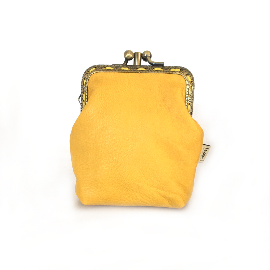 Yellow Merino Leather Credit Card Size Double Purse, 8.5cm Long