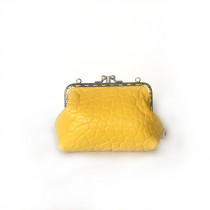 Yellow Merino Double Purse, 12cm