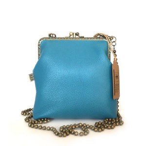 Blue Deer Leather Double Purse 15cm Long