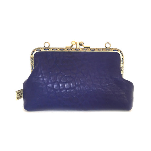 Dark Blue Merino Leather double purse, 15cm