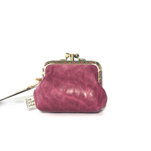 Load image into Gallery viewer, Raspberry Pink Merino Leather Coin Purse 8.5cm Double