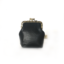 Load image into Gallery viewer, Black Merino Leather Credit Card Size Double Purse, 8.5cm Long