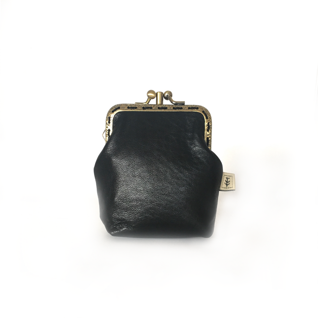Black Merino Leather Credit Card Size Double Purse, 8.5cm Long