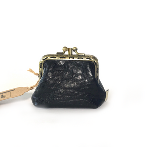 Shiny Black Merino Leather Coin Purse 8.5cm Double