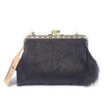 Load image into Gallery viewer, Dark Brown/Black and White Cowhide Double Purse, 15cm