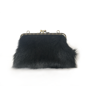 Black Goat hair on +  Black Merino Leather Double Purse, 15cm