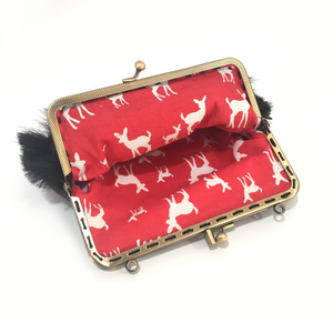 Black Goat hair on +  Black Deer Leather Double Purse, 15cm