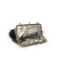 Load image into Gallery viewer, Black Goat hair on +  Black Merino Leather Double Purse, 15cm