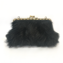 Load image into Gallery viewer, Black Goat hair on +  Black Deer Leather Double Purse, 15cm