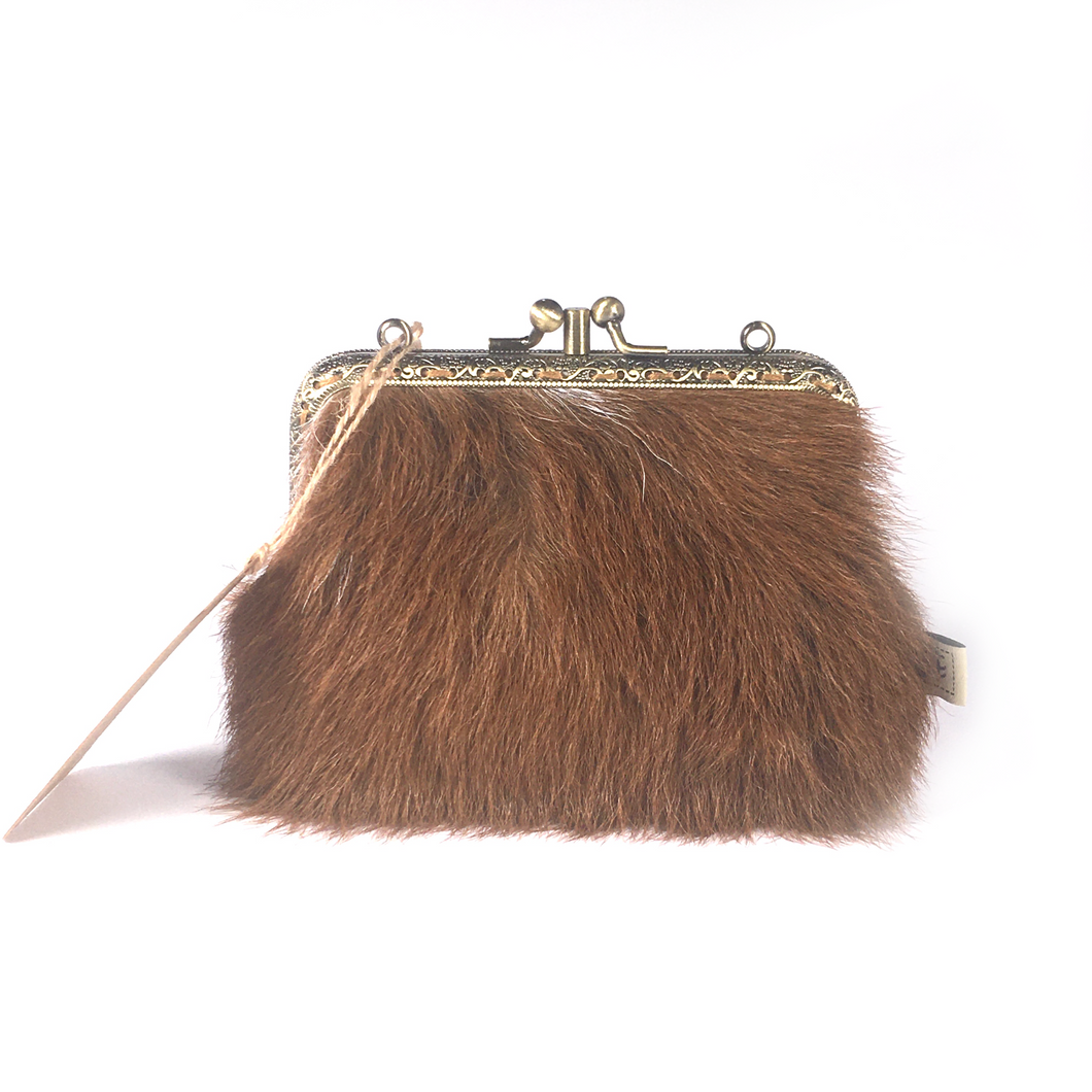 Half ginger cowhide + half tan Napa double purse, 12cm