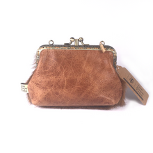 Load image into Gallery viewer, Half ginger cowhide + half tan Napa double purse, 12cm