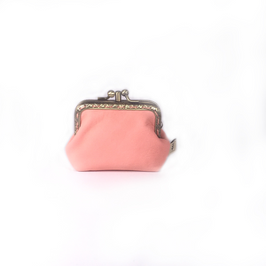 Blush Pink Merino Leather Coin Purse 8.5cm Double